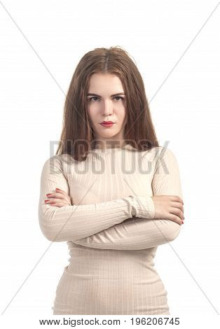 Emotions Of Beautiful Girl In A Beige Dress.