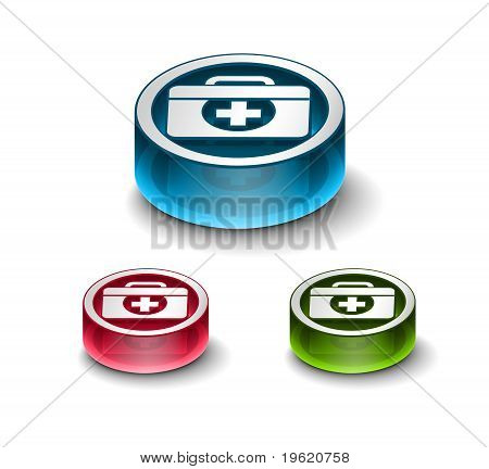 3d glossy medical web icon includes 3 color versions. poster