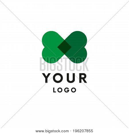 Two green hearts logo. Eco logo. Vector