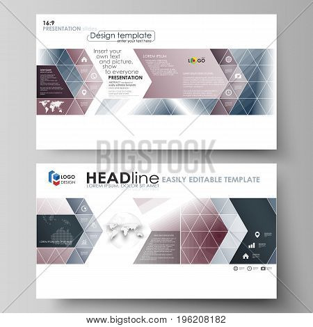 Business templates in HD format for presentation slides. Easy editable abstract vector layouts in flat design. Simple monochrome geometric pattern. Abstract polygonal style, stylish modern background.