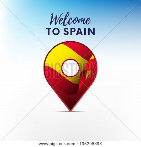 Flag of Spain in shape of map pointer or marker. Spain flag. Welcome to Spain. Vector illustration.