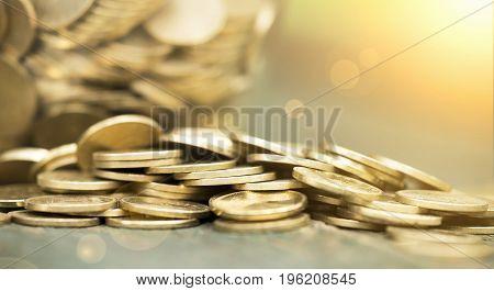 Website banner of golden coins - money savings concept