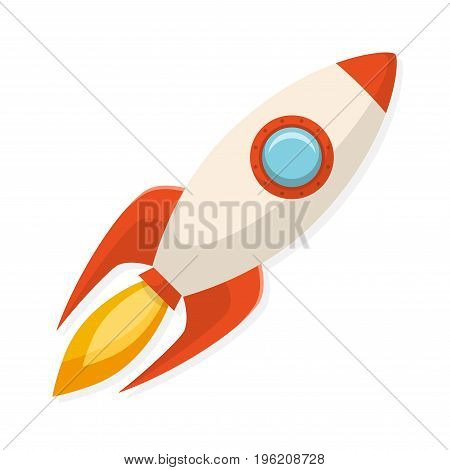 Cartoon flat design rocket ship. Symbol of start up and creativity. Vector illustration.