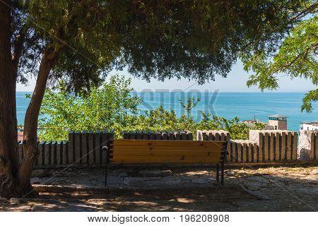 View sea from altitude through tree foliage in Balchik town black sea coast in Bulgaria.
