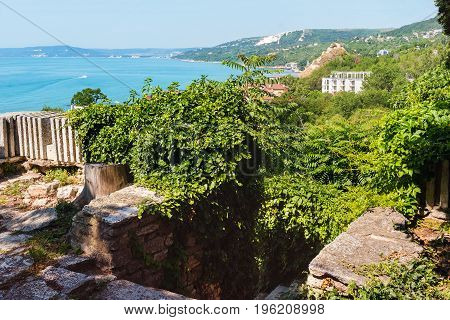 View from altitude to the sea with blue turquoise water in Balchik city black sea coast in Bulgaria.