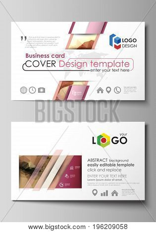 Business card templates. Easy editable layout, abstract vector design template. Beautiful background. Geometrical colorful polygonal pattern in triangular style