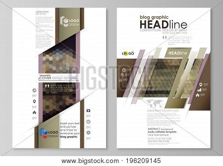 Blog graphic business templates. Page website design template, easy editable abstract vector layout. Abstract multicolored backgrounds. Geometrical patterns. Triangular and hexagonal style.
