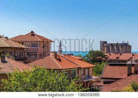 Cityscape of balchik town houses on black sea coast in Bulgaria.