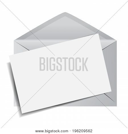 Email envelope icon with a blank paper note for web marketing message and copy EPS10 vector illustration on white background.