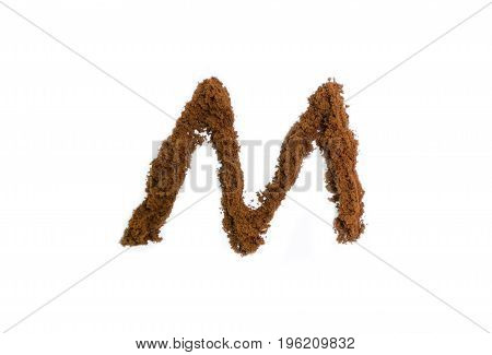 Written letters with homemade coffee on a white background