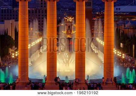Magic Fountain near the National Palace of Art of Catalonia in Barcelona. Spain.