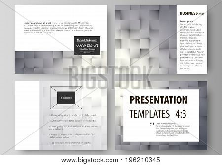 Set of business templates for presentation slides. Easy editable abstract vector layouts in flat design. Pattern made from squares, gray background in geometrical style. Simple texture