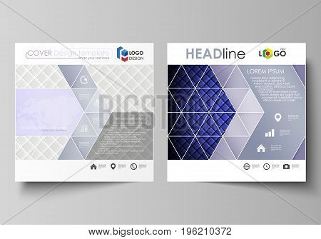 Business templates for square design brochure, magazine, flyer, booklet or annual report. Leaflet cover, abstract flat layout, easy editable vector. Shiny fabric, rippled texture, white and blue color silk, colorful vintage style background.