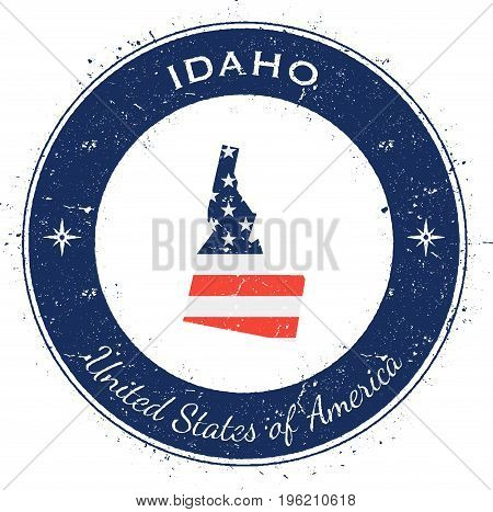 Idaho Circular Patriotic Badge. Grunge Rubber Stamp With Usa State Flag, Map And The Idaho Written A