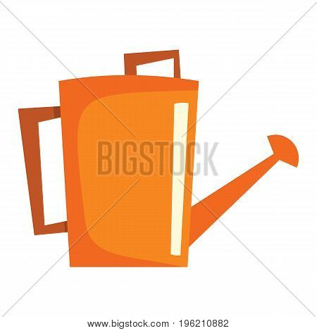 Watering can flat cartoon icon. Watering can vector illustration for design and web isolated on white background. garden tool vector object for labels, logos and advertising