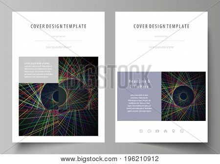 Business templates for brochure, magazine, flyer, booklet or annual report. Cover design template, easy editable vector, abstract flat layout in A4 size. Bright color lines, colorful beautiful background. Perfect decoration.