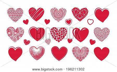 Red heart logo, label. Set icons or characters on theme of love, wedding, Valentine's day. Vector illustration isolated on white background