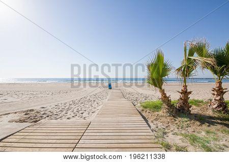 Wooden Walkway To Beach Almadraba In Benicassim