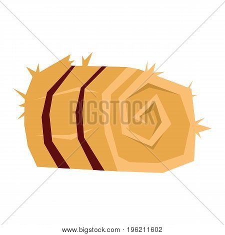 Bale of hay flat cartoon icon. Hay vector illustration for design and web isolated on white background. Bale of hay vector object for labels, logos and advertising