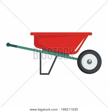 Reed wheelbarrow flat cartoon icon. Wheelbarrow vector illustration for design and web isolated on white background. Reed wheelbarrow vector object for labels, logos and advertising