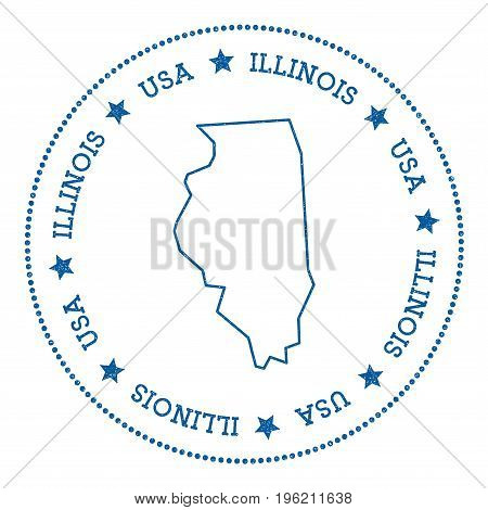 Illinois Vector Map Sticker. Hipster And Retro Style Badge With Illinois Map. Minimalistic Insignia
