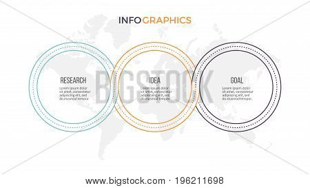 Business infographics. Presentation with 3 options, circles. Thin line vector template.