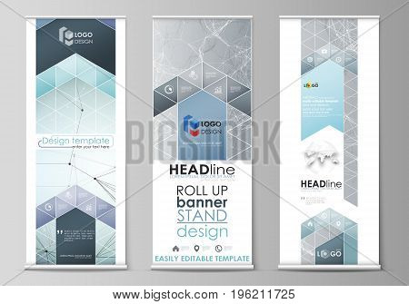 Set of roll up banner stands, flat design templates, abstract geometric style, modern business concept, corporate vertical vector flyers, flag layouts. Chemistry pattern, connecting lines and dots, molecule structure, scientific medical DNA research.