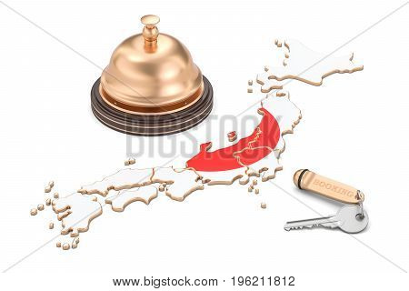 Japan booking concept. Japanese flag with hotel key and reception bell 3D rendering