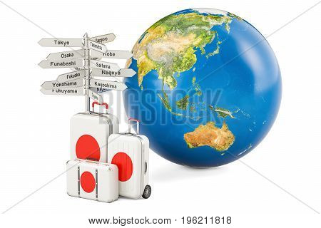 Japan travel concept. Suitcases with signpost and Earth Globe 3D rendering
