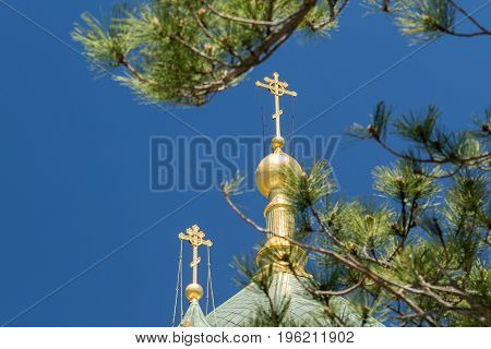 The golden dome and crosses of the Orthodox Church of the Holy Resurrection of Christ in Yalta near the place Baydarskie Gates Crimea