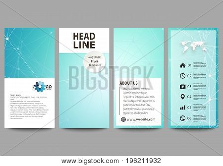 Flyers set, modern banners. Business templates. Cover design template, easy editable abstract vector layouts. Chemistry pattern, connecting lines and dots, molecule structure, medical DNA research. Medicine concept.