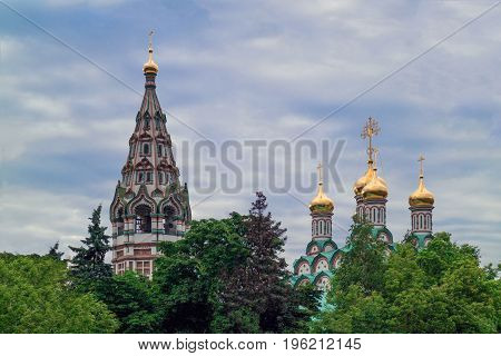 The domes of St. Nicholas Church in Khamovniki. The Orthodox Church is located in Moscow on Frunzenskaya Street