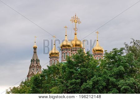 Golden domes of St. Nicholas Church in Moscow on Frunzenskaya Street