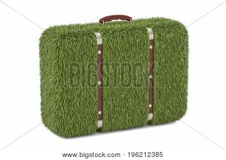 green suitcase from grass eco concept. 3D rendering isolated on white background