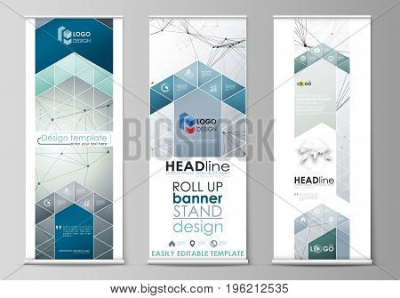 Set of roll up banner stands, flat design templates, abstract geometric style, modern business concept, corporate vertical vector flyers, flag layouts. Genetic and chemical compounds. Atom, DNA and neurons. Medicine, chemistry, science or technology conce