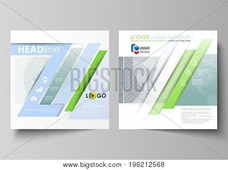 Business templates for square design brochure, magazine, flyer, booklet or annual report. Leaflet cover, abstract flat layout, easy editable vector. Minimalistic background with lines. Gray color geometric shapes forming simple beautiful pattern.