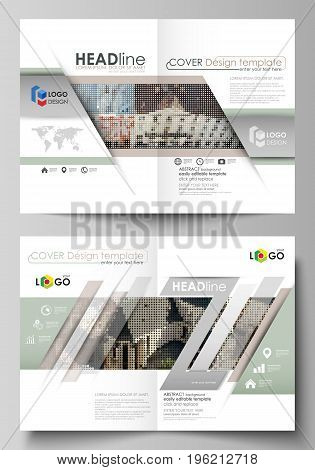 Business templates for bi fold brochure, magazine, flyer, booklet or annual report. Cover design template, easy editable vector, abstract flat layout in A4 size. Colorful background made of dotted texture for travel business, urban cityscape.