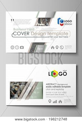 Business card templates. Easy editable layout, abstract vector design template. Colorful background made of dotted texture for travel business, urban cityscape