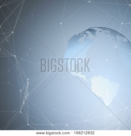 Abstract futuristic network shapes. High tech background, connecting lines and dots, polygonal linear texture. World globe on blue. Global network connections, geometric design, dig data concept