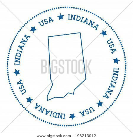 Indiana Vector Map Sticker. Hipster And Retro Style Badge With Indiana Map. Minimalistic Insignia Wi
