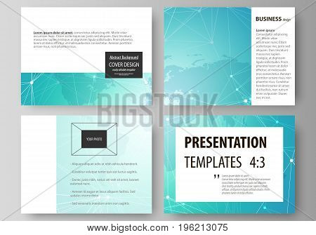 The minimalistic abstract vector illustration of the editable layout of the presentation slides design business templates. Chemistry pattern. Molecule structure. Medical, science background