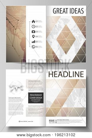 The vector illustration of the editable layout of two A4 format modern cover mockups design templates for brochure, magazine, flyer. Global network connections, technology background with world map