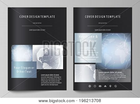 The black colored vector illustration of the editable layout of A4 format covers design templates for brochure, magazine, flyer, booklet. Abstract futuristic network shapes. High tech background
