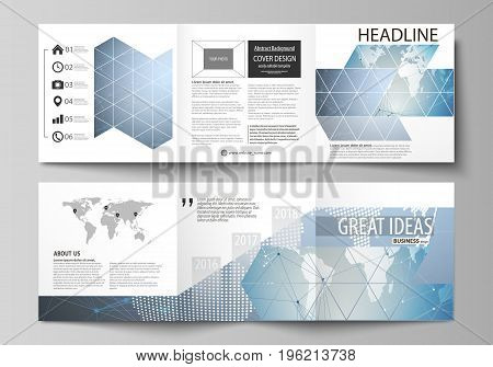 The minimalistic vector illustration of the editable layout. Two modern creative covers design templates for square brochure or flyer. Scientific medical DNA research. Science or medical concept