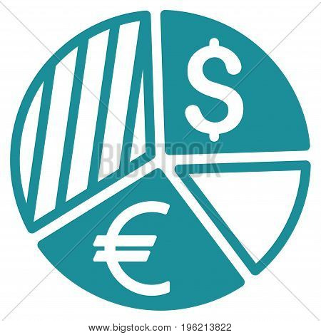 Currency Pie Chart vector icon. Flat soft blue symbol. Pictogram is isolated on a white background. Designed for web and software interfaces.