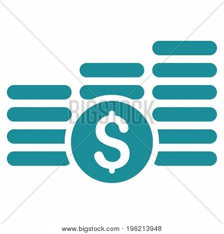 Finances vector icon. Flat soft blue symbol. Pictogram is isolated on a white background. Designed for web and software interfaces.
