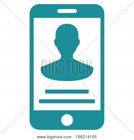 Mobile Person Details vector icon. Flat soft blue symbol. Pictogram is isolated on a white background. Designed for web and software interfaces.