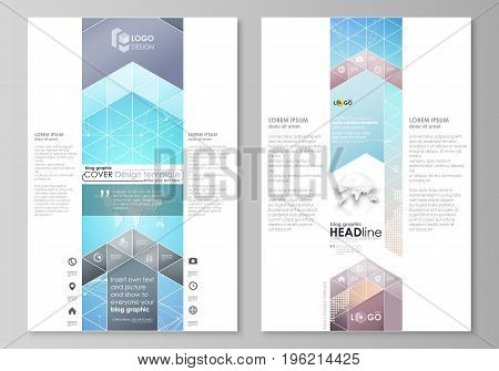 The abstract minimalistic vector illustration of the editable layout of two modern blog graphic pages mockup design templates. Molecule structure. Science, technology concept. Polygonal design