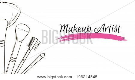 Makeup Artist Business Card. Vector Template With Makeup Items Brushes Makeup And Pink Smear A Brush