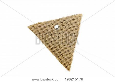Blank Decorative Triangle Burlap Flag With Metal Ring For Tie